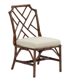 SOLD OUT!!!Palm Beach Chippendale Side ChairFrame Color - MahoganyCushion Color - Linen THIS IT