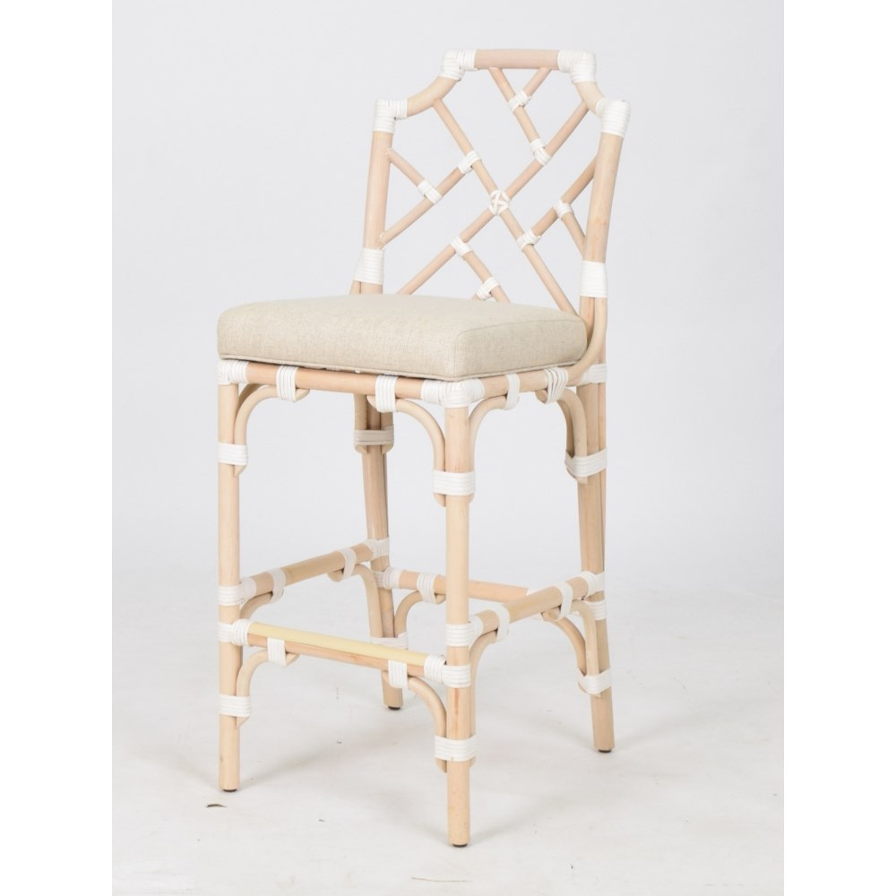 Palm Beach Chippendale Bar ChairFrame to be Painted,Cushion Color - Cream  Pack 1 Re-shipper