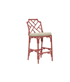 "Palm Beach Chippendale Bar Chair  Unpainted - ""Select Your Color""  Rattan Frame with Leather Wraps"