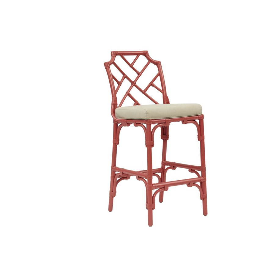Palm Beach Chippendale Bar ChairFrame to be PaintedCushion Color - Linen