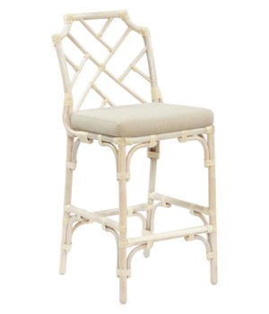 Buy1Get1 FREE! -Palm Beach Chippendale Bar ChairFrame Color - LinenCushion Color - LinenItem to