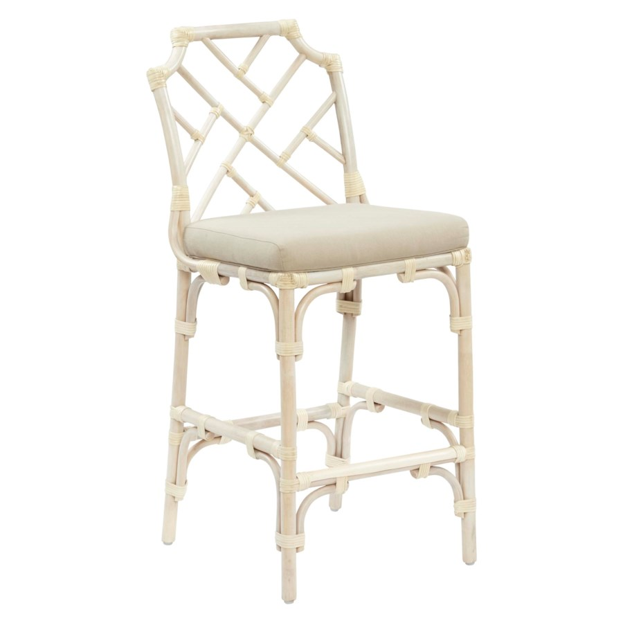 CLOSE-OUT - Buy1Get1 FREE! Palm Beach Chippendale Bar Chair Frame Color - Linen Cushion Color - L