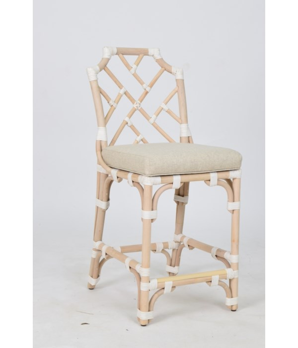 """Palm Beach Chippendale Counter Chair  Unpainted - """"Select Your Color""""  Rattan Frame with Leather Wr"""