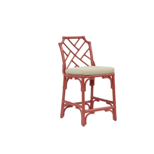 "Palm Beach Chippendale Counter Chair  Unpainted - ""Select Your Color""  Rattan Frame with Leather Wr"