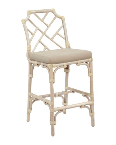 Palm Beach Chippendale Counter ChairFrame Color - LinenCushion Color - Linen