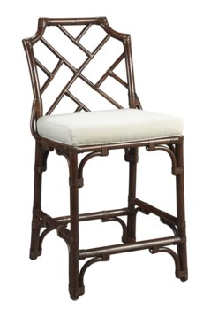 Palm Beach Chippendale Counter Chair Frame Color - MahoganyCushion Color - Linen