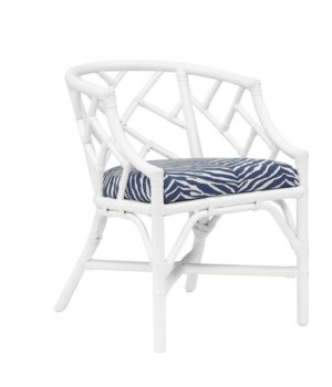 "Palm Beach Chippendale Club Chair Unpainted - ""Select Your Color"" Rattan Frame with Leather Wraps"