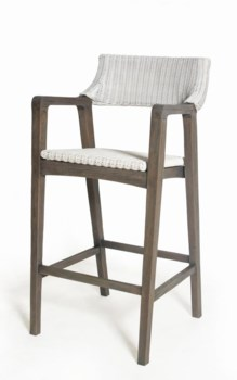 Urbane Dining Bar ChairFrame Color - Old GrayWhite Woven Seat and Back
