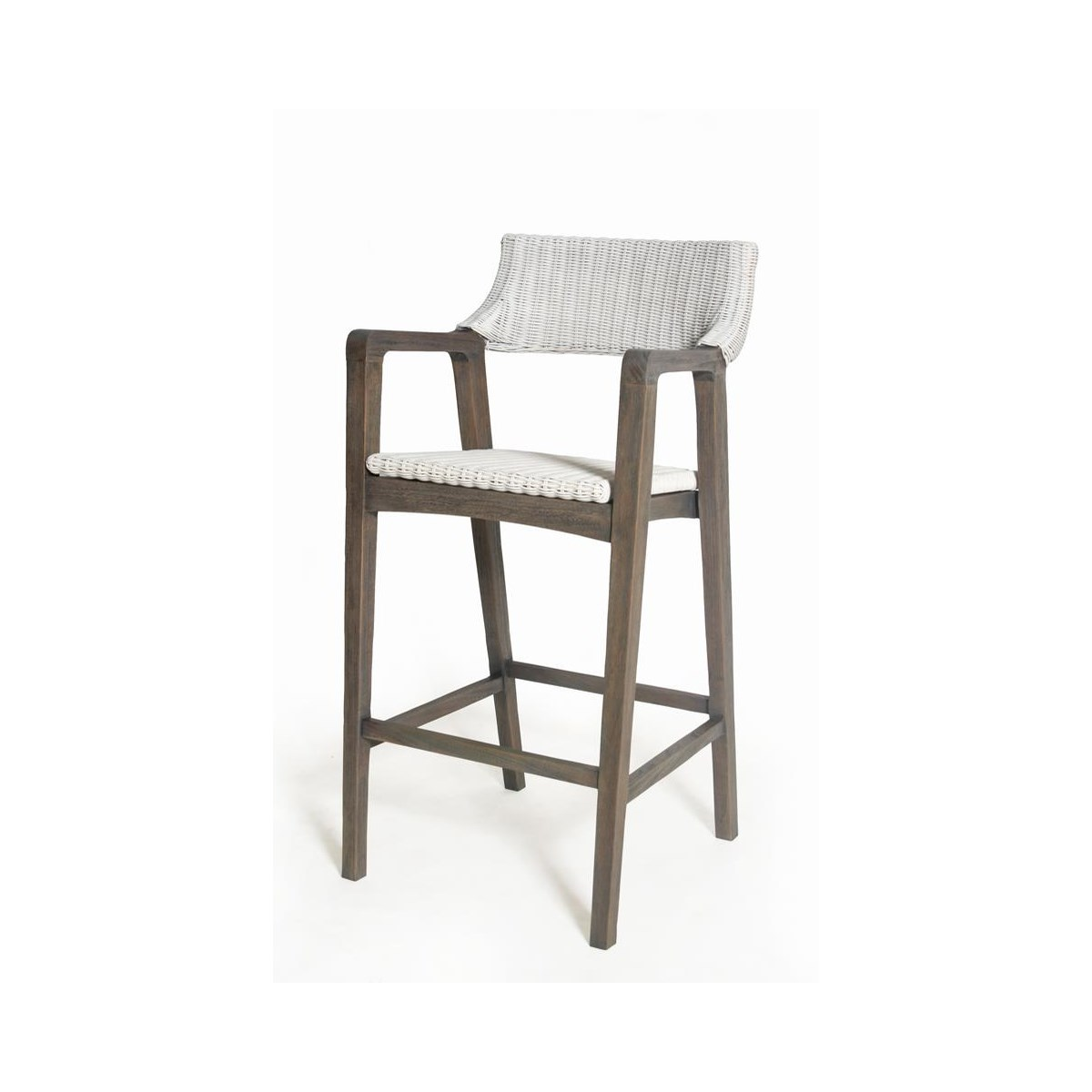 Urbane Bar Chair  Frame Color - Old Gray  Woven Seat & Back Color - White  SOLD AS-IS  ~  ALL SA