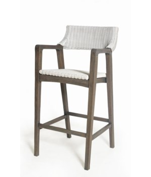 CLOSE-OUT - 15% Off!  Urbane Bar Chair  Frame Color - Old Gray  Woven Seat & Back Color - White