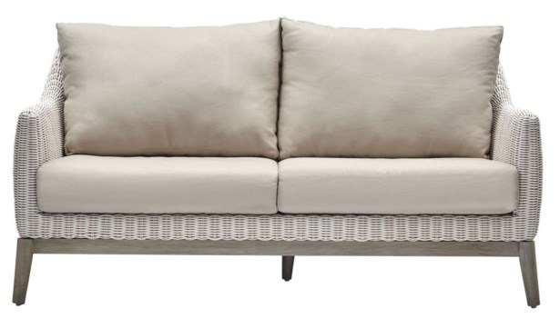 Metropolitan SetteeWhite Weave, Gray FrameCushion Color - Linen