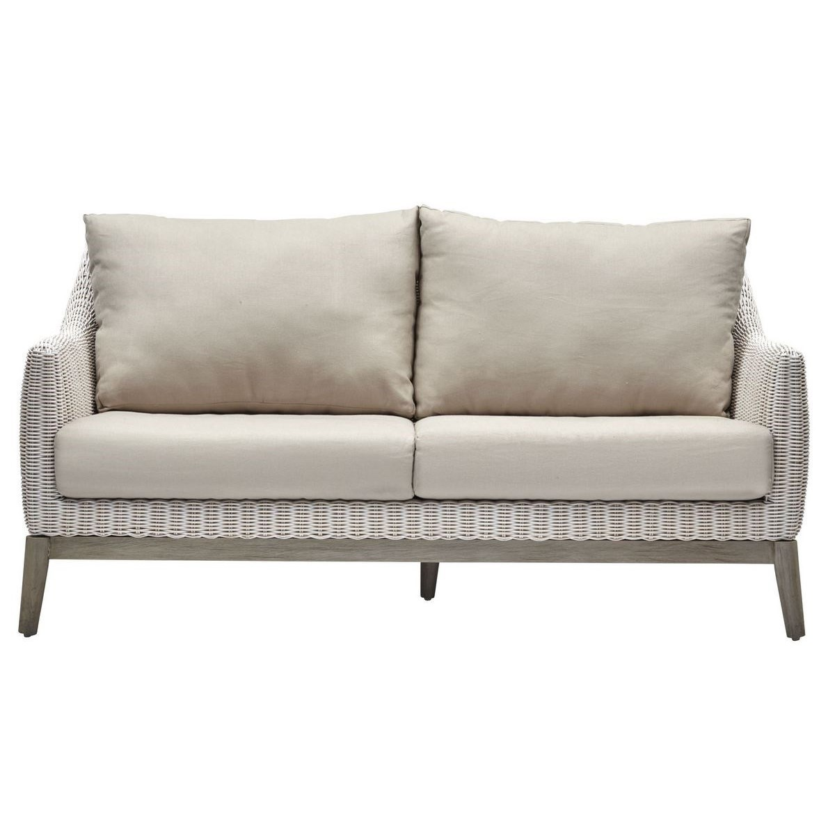 Metropolitan Settee White Weave, Gray Frame Cushion Color - Linen SOLD AS-IS  ~  ALL SALES FINAL
