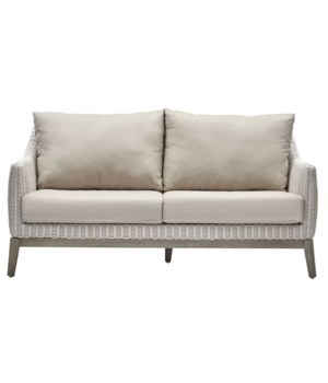 CLOSE-OUT - 15% Off! Metropolitan Settee White Weave, Gray Frame Cushion Color - Linen This It