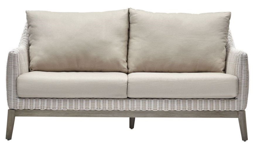 15% OFF -Metropolitan SetteeWhite Weave, Gray FrameCushion Color - LinenItem to be Discontinued