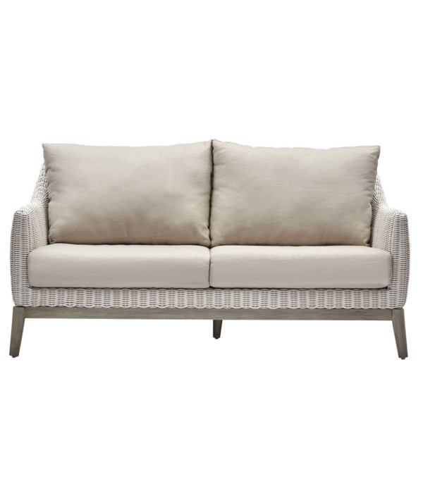 Metropolitan Settee White Weave, Gray Frame Cushion Color - Linen CLOSE-OUT - 50% Off! SOLD AS-