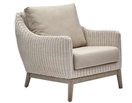 Metropolitan Club ChairWhite Weave, Gray FrameCushion Color - Linen