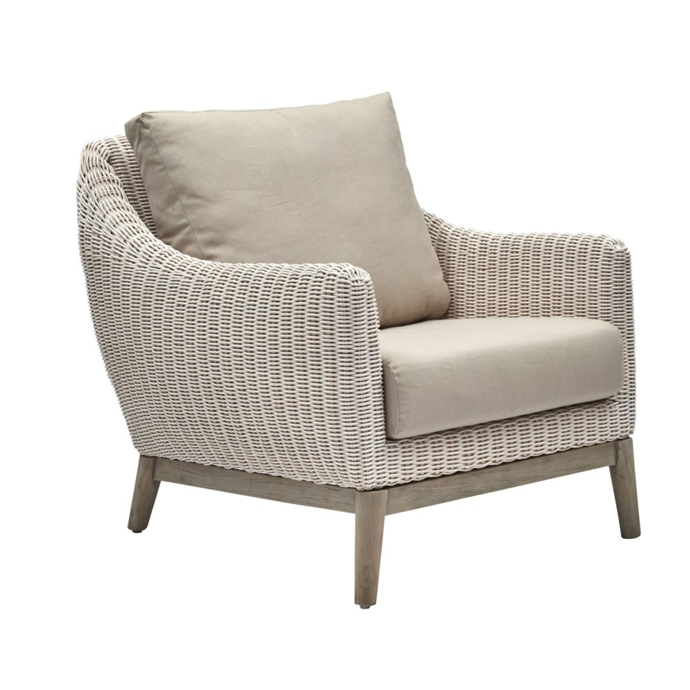 Metropolitan Club Chair White Weave, Gray Frame Cushion Color - Linen SOLD AS-IS  ~  ALL SALES F