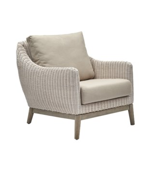 Metropolitan Club ChairWhite Weave, Gray FrameCushion Color - Linen
