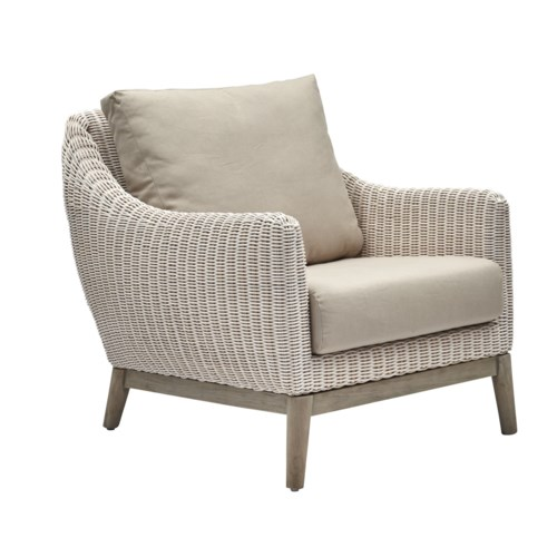 CLOSE-OUT - Buy1Get1 FREE! Metropolitan Club Chair White Weave, Gray Frame Cushion Color - Linen