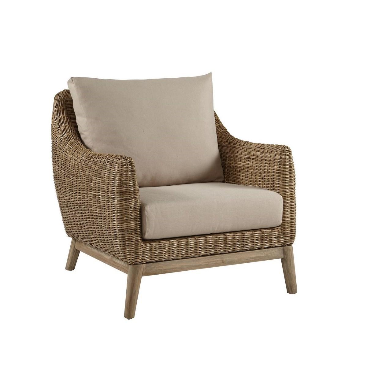 Metropolitan Club Chair Stone Weave, Old Gray Frame Cushion Color - Linen