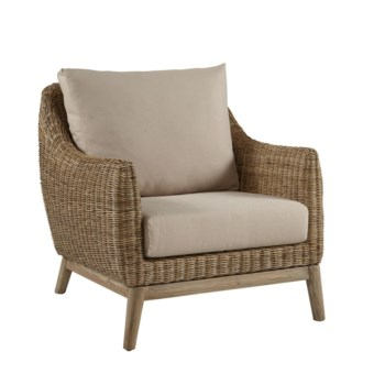 Metropolitan Club ChairStone Weave, Old Gray FrameCushion Color - Linen