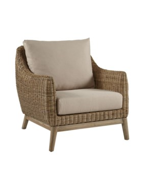 Metropolitan Club Chair Stone Weave, Old Gray Frame Cushion Color - Linen