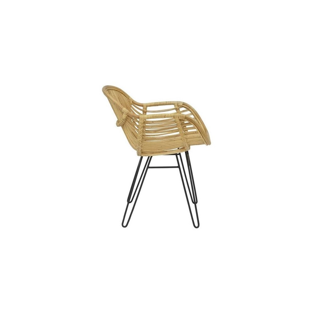 Sophia Arm Chair  Seat and Back Natural Black Metal Legs SOLD AS-IS  ~  ALL SALES FINAL!This It