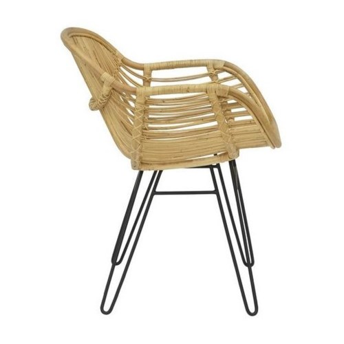 Sophia Arm Chair  Seat and Back Natural Black Metal Legs CLOSE-OUT - 50% Off!This Item Will Be