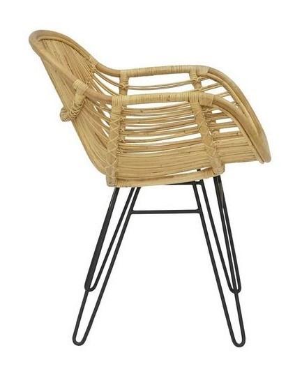 Sophia Arm Chair Seat and Back Natural Black Metal Legs