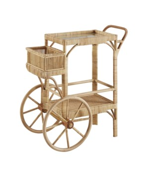 Bimini Bar Cart Woven Rattan - Natural