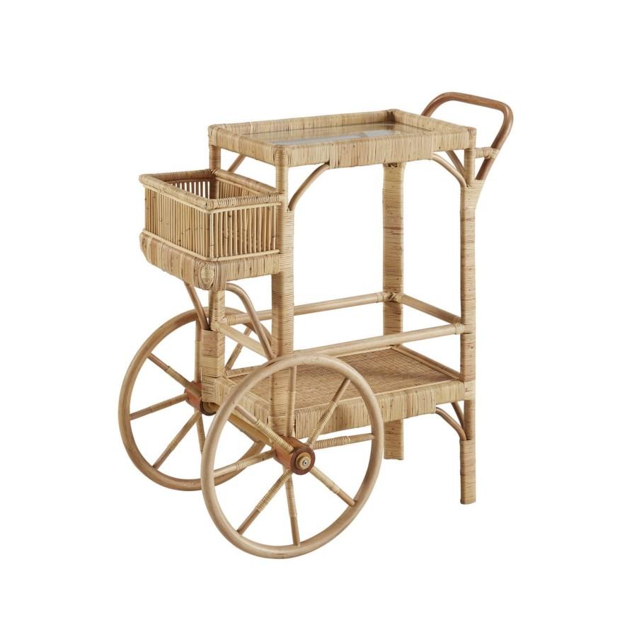 Bimini Bar Cart Woven Rattan - Natural
