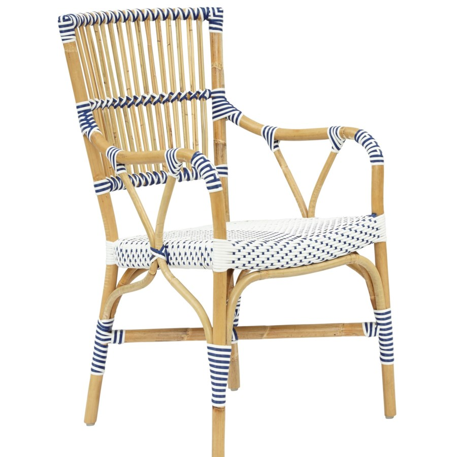 Madrid Arm Chair Frame Color - Natural   Woven Seat and Back  Color - White/Navy