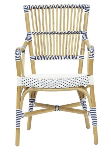 Madrid Arm ChairFrame - NaturalWoven Seat and Back Color - White & Navy Blue