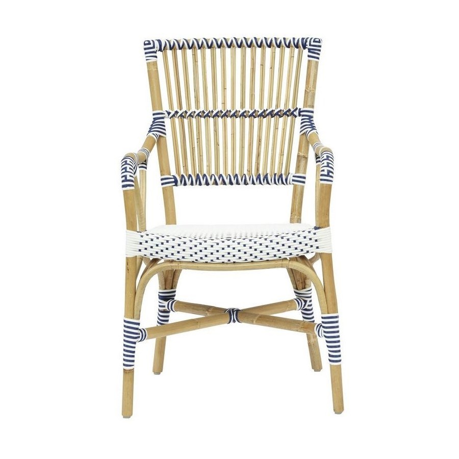 Madrid Arm ChairFrame Color  - NaturalWoven Seat and Back Color - White & Navy Blue