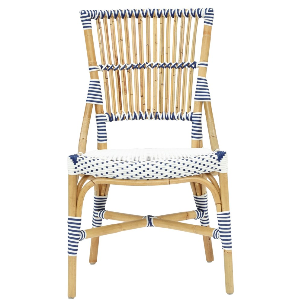 Madrid Side Chair  Frame - Natural  Woven Seat and Back  Color - White/Navy  Sold in pairs ONLY