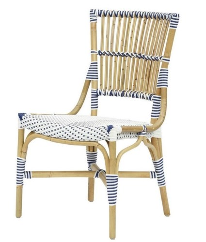 Madrid Side ChairFrame - NaturalWoven Seat and Back Color - White & Navy BlueSold in pairs ONLY