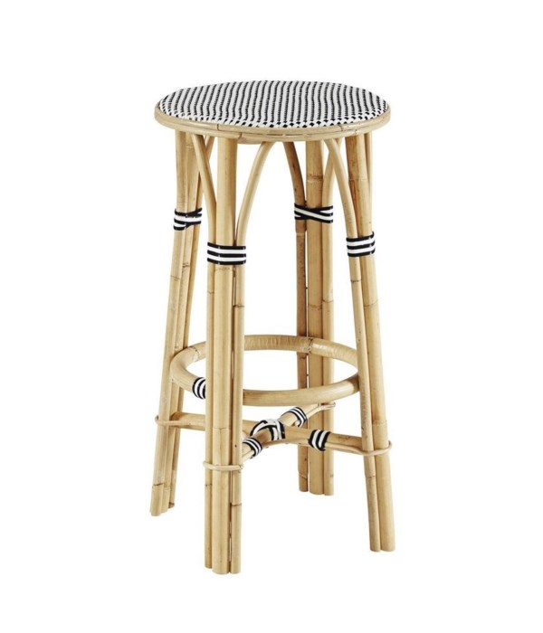 Madrid Bar Stool Frame - Natural Woven Seat   Color - White & BlackSold in Pairs ONLY (Price Sh