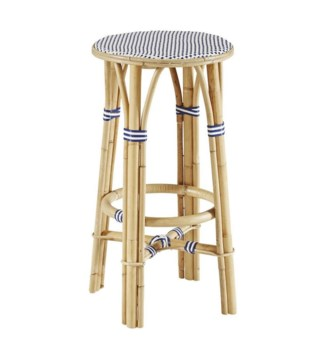 Buy1Get1 FREE! -Madrid Bar StoolFrame - NaturalWoven Seat  Color - White & NavySold in Pairs ON