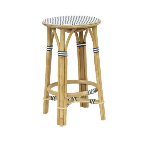 CLOSE-OUT - 50% OFF!Madrid Counter Stool Frame - Natural Woven Seat  Color - White & Black (1