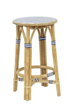 Madrid Counter StoolFrame - NaturalWoven Seat  Color - White & NavySold in Pairs ONLY