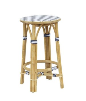 CLOSE-OUT - 25% Off!Madrid Counter StoolFrame - NaturalWoven Seat Color - White & NavySold in Pa