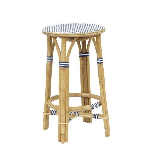 CLOSE-OUT - 25% Off!  Madrid Counter Stool  Frame - Natural  Woven Seat Color - White/Navy  Sold