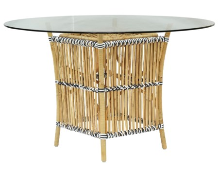 Madrid Table BaseNatural Frame With White & Black WrapGlass Top NOT Included(Originally $195.00