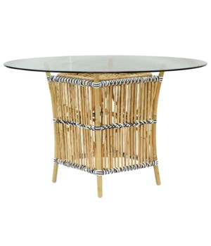 Buy1Get1 FREE! -Madrid Table BaseNatural Frame With White & Black WrapGlass Top NOT IncludedIt