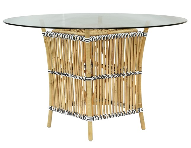 Madrid Table BaseNatural Frame With White & Black WrapGlass Top NOT Included