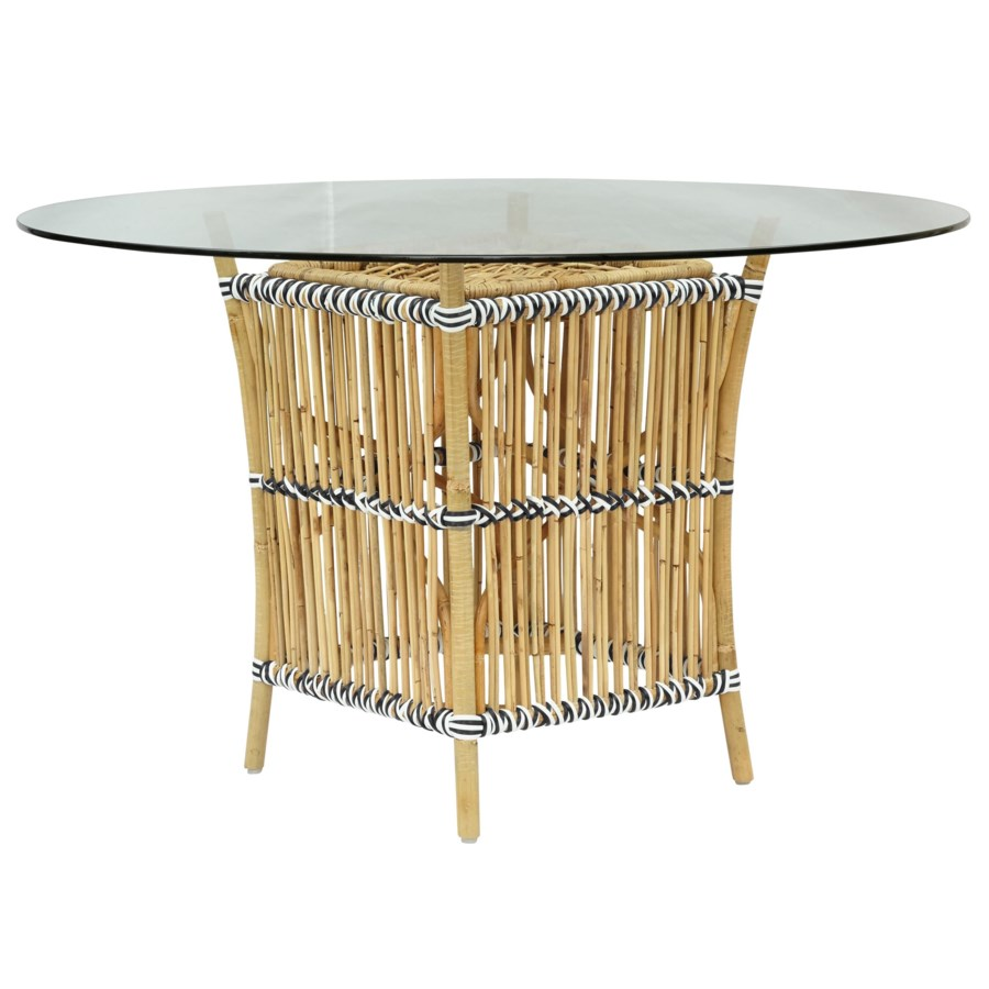 CLOSE-OUT - Buy1Get1 FREE! Madrid Table Base Natural Frame  With White & Black Wrap Glass Top NO
