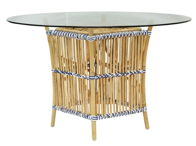 Buy1Get1 FREE! -Madrid Table BaseNatural Frame With White & Navy WrapGlass Top NOT IncludedIte
