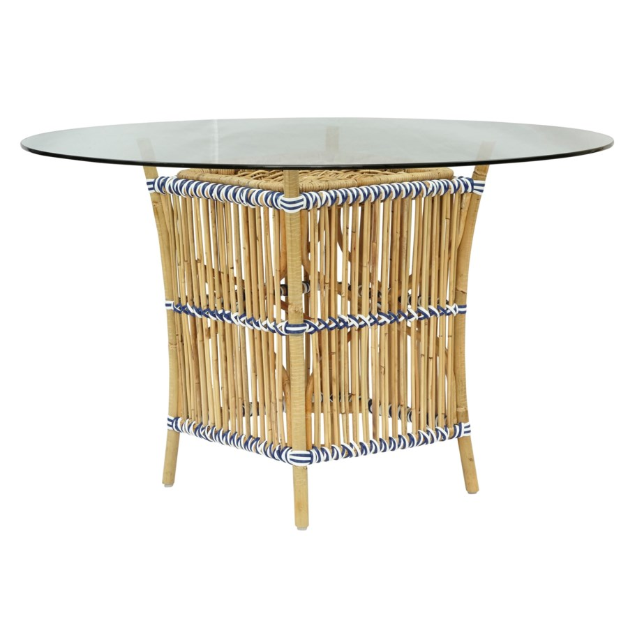 CLOSE-OUT - 50% OFF!Madrid Table Base Natural Frame With White/Navy Wrap Glass Top NOT Included