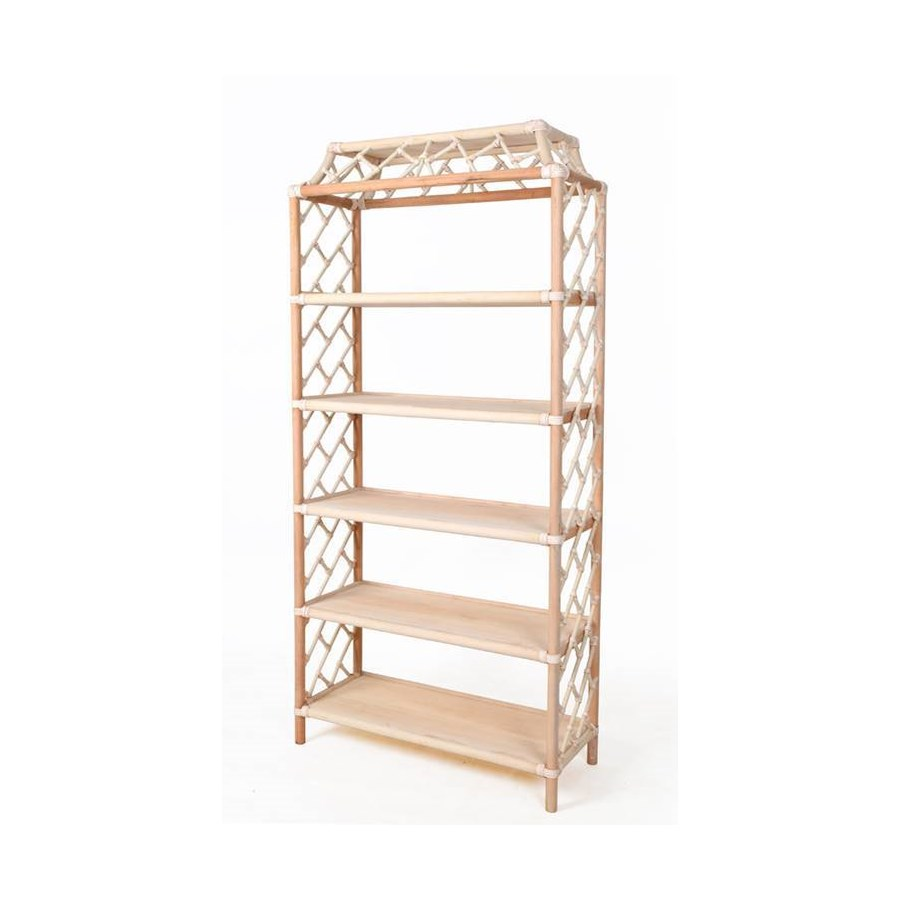 """Chippendale Bookcase Unpainted""""Select Your Color"""" Rattan Frame with Leather Wraps"""