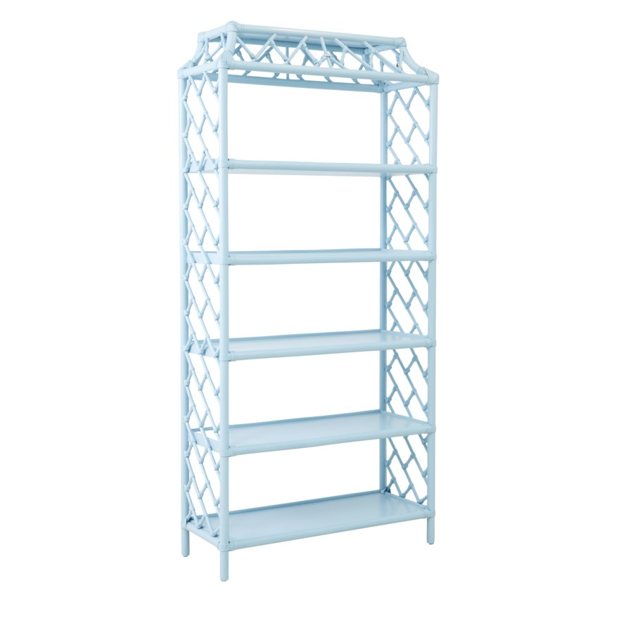 "Chippendale Bookcase Unpainted""Select Your Color"" Rattan Frame with Leather Wraps"